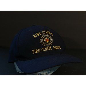 King County Fire Trucker Hat Cap Blue Yellow